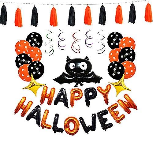 Halloween Balloons Set Happy Halloween Hanging Decoration Spooky Bat Tassel Halloween Party Favors