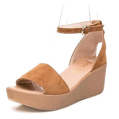 18f238f74 JITAIN Sandales Ouvertes Talons Compensés Sandale Bride Cheville Élégant  Femme Plateforme Chaussure