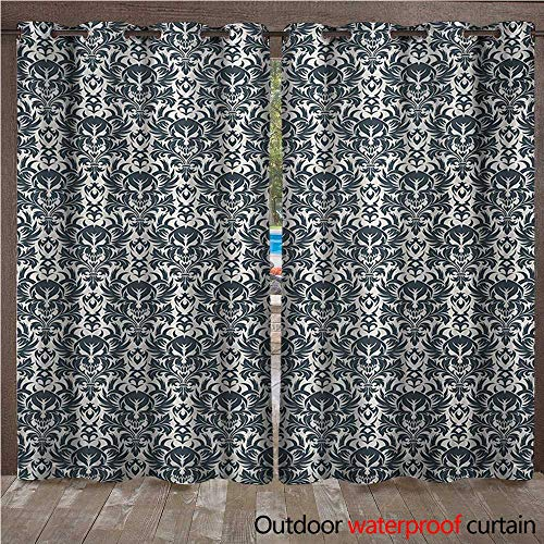 WilliamsDecor Skull Outdoor Ultraviolet Protective Curtains Baroque Skulls in Floral Ornament Pattern Scary Artistic Victorian Print W96 x L96(245cm x 245cm)