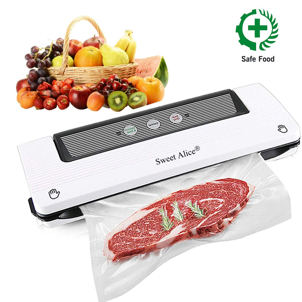 Vacuum Sealer, Automatic Food Sealer Machine Vacuum Air Sealing System for Food Savers, Household Food Preservation Machine, Include Sealing Bags by Sweet Alice