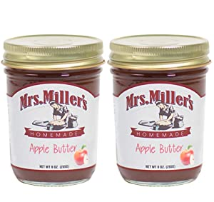 Mrs. Miller's Amish Homemade Apple Butter 9 Ounces - Pack of 2 (No Corn Sugar)