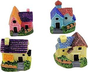 EMiEN 4 Pieces Mini Rural House Miniature Ornament Kits,Miniature Ornament for DIY Dollhouse Decoration Fairy Garden Plant Décor