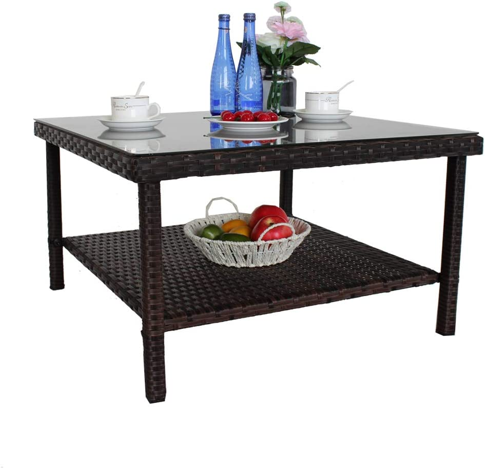 Patio Side Table Outdoor Metal Table Small PE Brown Rattan Side Table Patio Furniture Garden Deck Pool Glass Top Double-Shelf Storage Space Tea Table-Brown