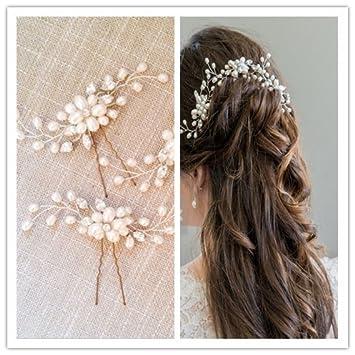 Brautschmuck haare perlen  Musuntas Damen Haar-Schmuck mit Perlen und Strass, ideal als ...