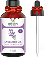 Lavender Essential Oil - 4 oz Therapeutic Grade with Glass Dropper - Essential Oil Labs