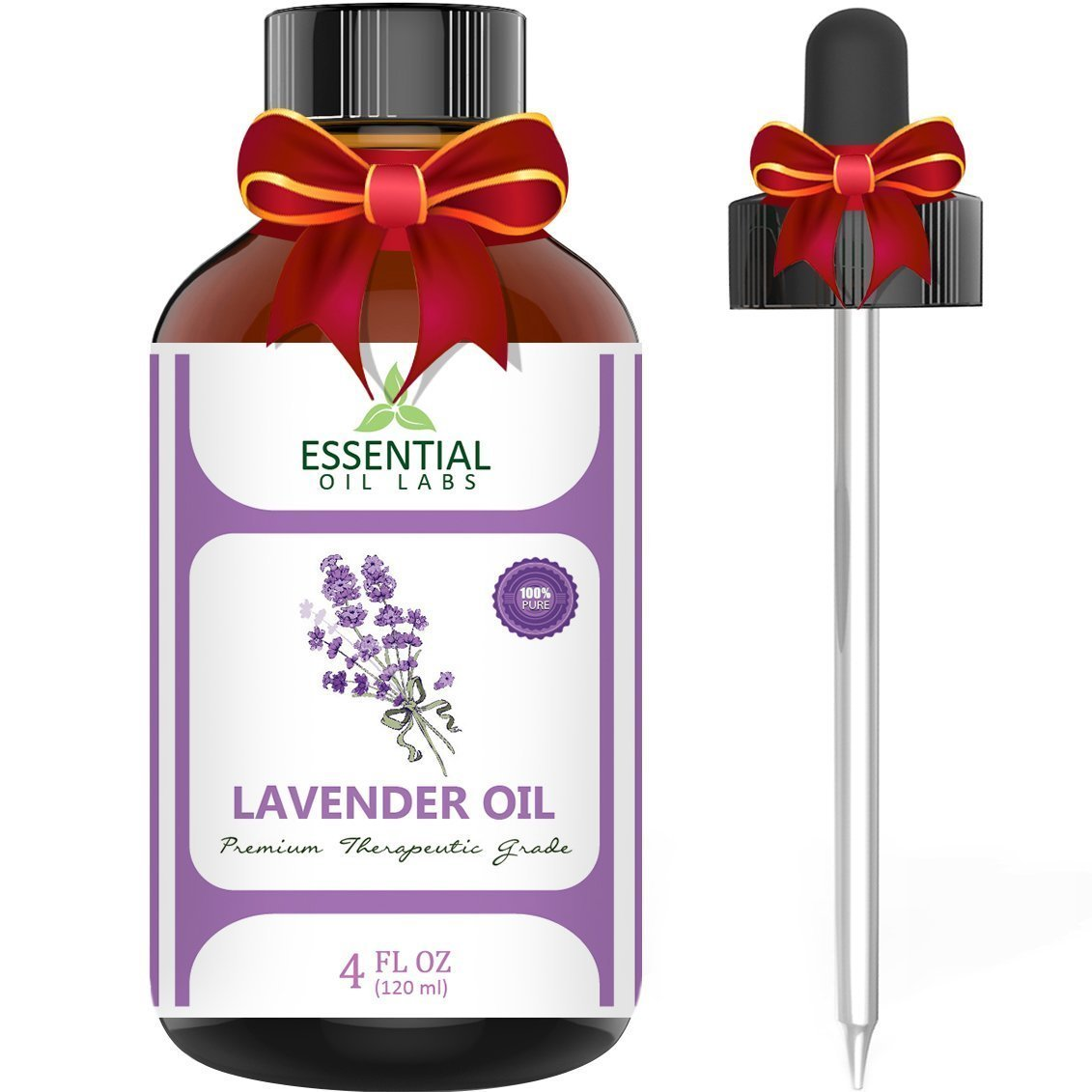 Lavender Essential Oil - Highest Quality Therapeutic Grade Backed by Research - Largest 4 Oz Bottle with Premium Glass Dropper - 100% Pure and Natural - Guaranteed Results - Essential Labs by Essential Oil Labs