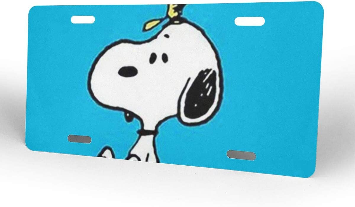 Meirdre Aluminum License Plates Snoopy with Flower License Plate Tag Car Accessories 12 X 6 Inches
