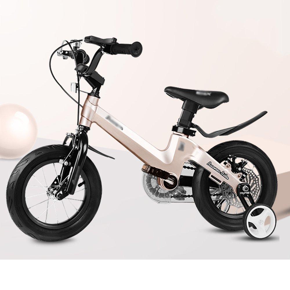 HAIZHEN マウンテンバイク 子供用自転車 トレーニングホイール付きの少年の自転車と少女の自転車 12インチ、14インチ、16インチ、18インチ 子供用ギフト 新生児 B07C6TD9KS 12インチ|ゴールド ゴールド 12インチ