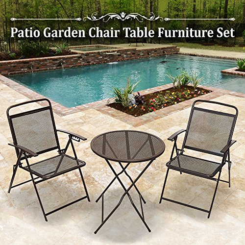 BenefitUSA 3 Piece Bistro Patio Set Table and Chairs Outdoor Wrought Iron CAFE set METAL (Wrought Iron Cafe)