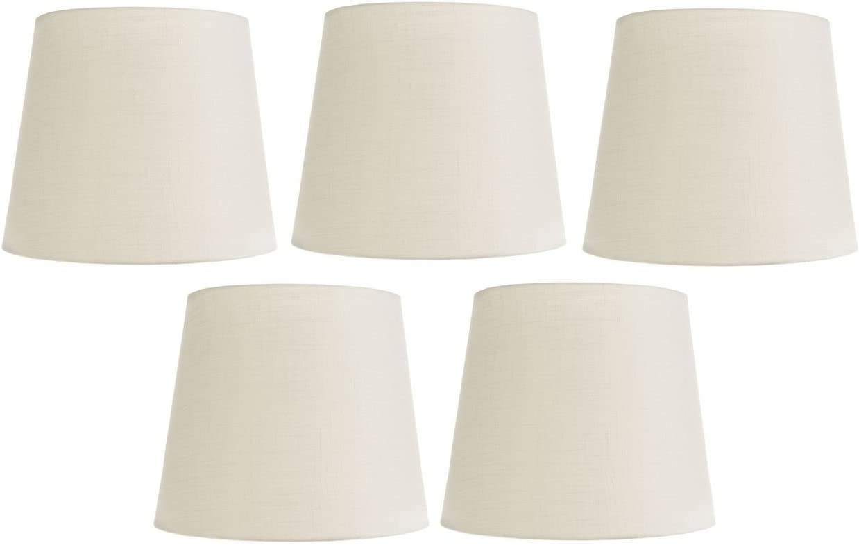Upgradelights White Silk 4 Inch Retro Drum Clip On Chandelier Lampshades Set Of 5 3x4x4