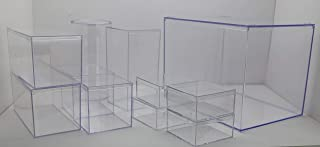 "product image for Clear Large Rigid Plastic Box 12 1/2"" x 8 1/2"" x 8 1/2"" with Variety Boxes Inside (Round 4 1/4"" Dia, 8"" X 4"" Rectangle, and 4"" x 4"" Square and Others)"