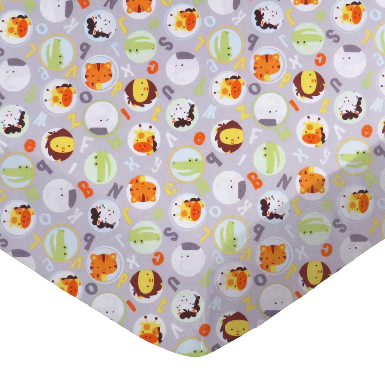 SheetWorld Fitted 100% Cotton Flannel Cradle Sheet 18 x 36, ABC Animals Gray, Made in USA by SHEETWORLD.COM
