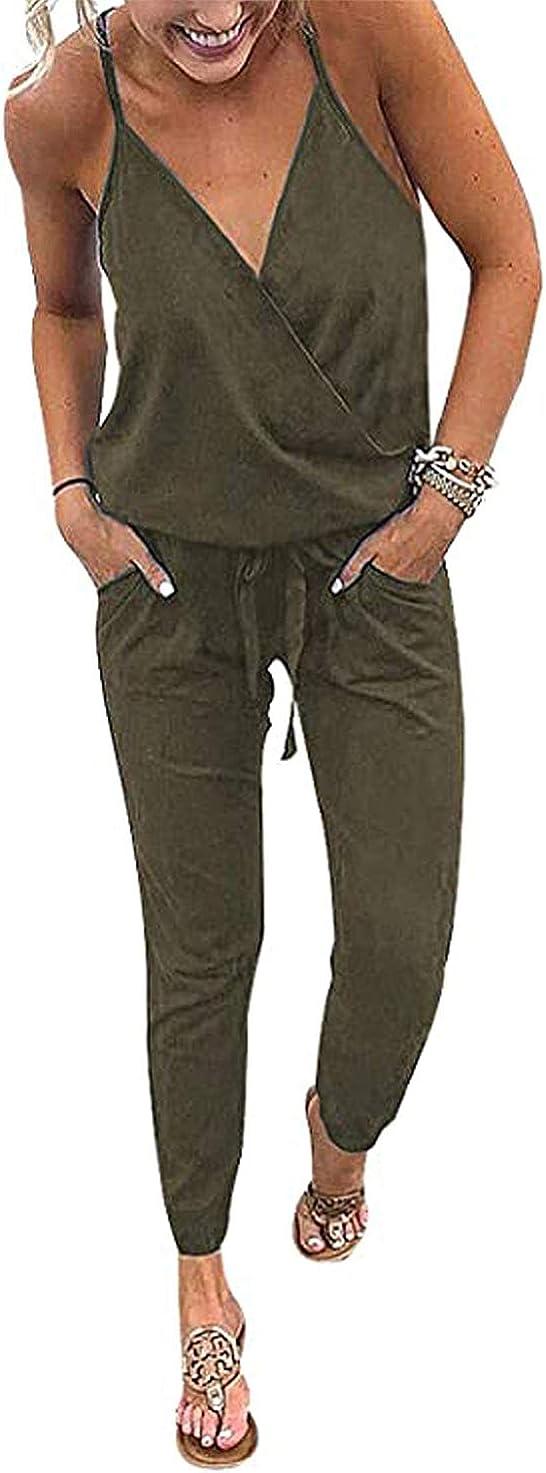PRETTYGARDEN Women's Sexy Deep V Neck Spaghetti Strap Drawstring Waist Jumpsuit Romper with Pockets