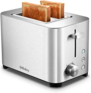 BBday Bread Toasters 2 Slice, Extra Wide Slot Stainless Steel, 6 Browning Settings,with Defrost,Bagel and Cancel, Removable Crumb Tray, 850W