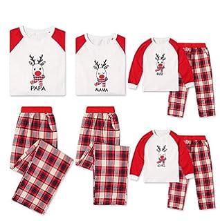 CHRONSTYLE Conjunto de Pijamas Familiares de Navidad, Trajes Navideños para Mujeres Hombres Niño, Ropa