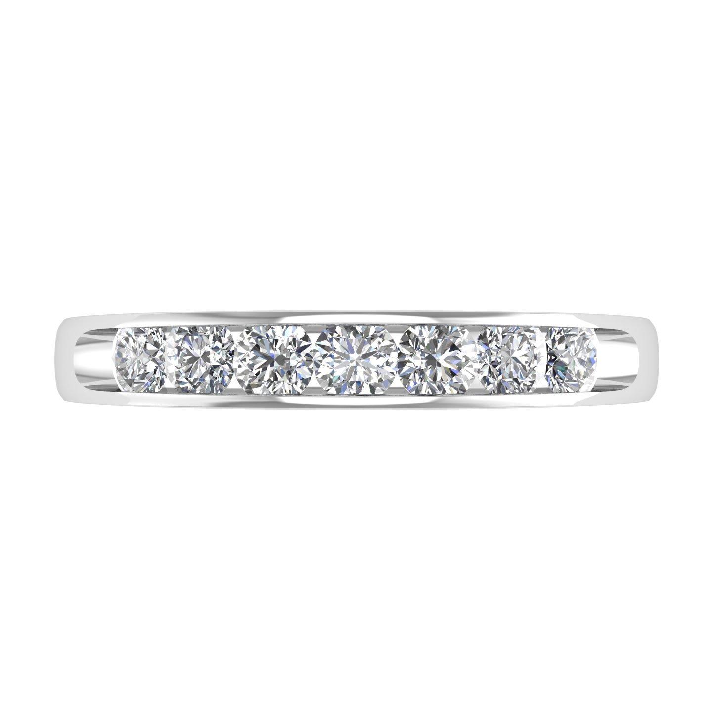 14K White Gold 7 Stone Channel Set Wedding//Anniversary Diamond Band Ring 1//2 Carat IGI Certified Diamond Delight R30300-TT-14KW-6.5