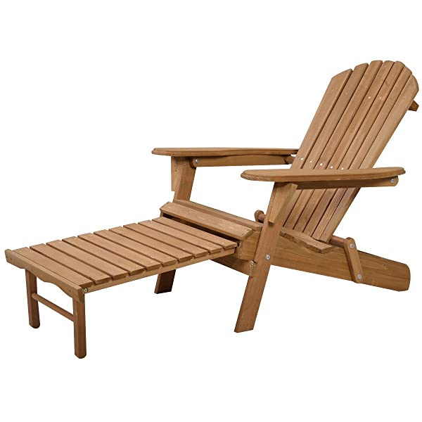 Giantex New Outdoor Foldable Fir Wood Adirondack Chair Patio Deck Garden Furniture ­ (Earthy Yellow)