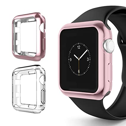 Alritz for Apple Watch 3 Bumper 42mm, Soft TPU Protective Case Cover for iWatch Series 1 Series 2 Series 3 Nike+ Sport Edition, Rose Gold and Clear