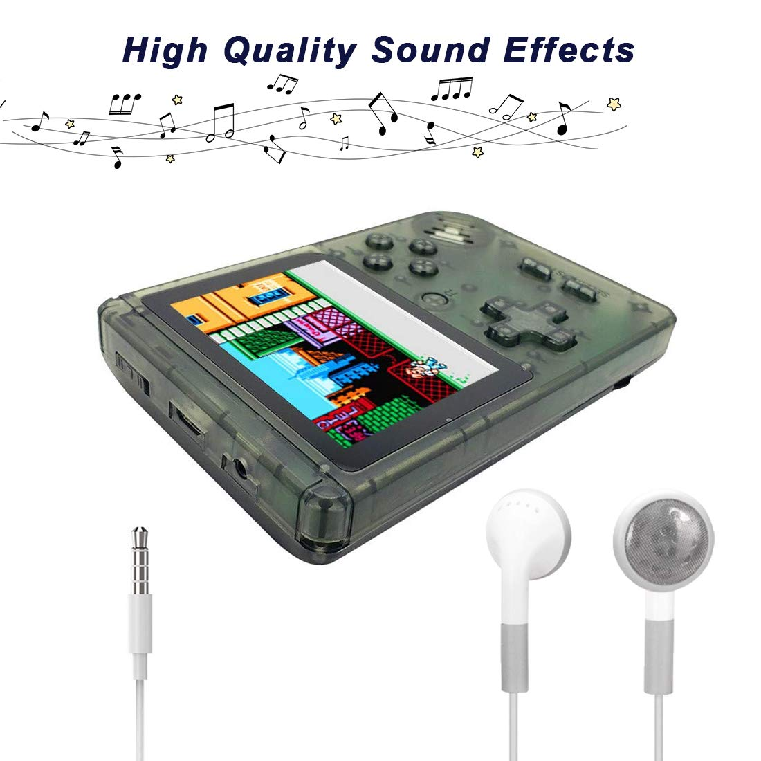 AKTOUGST Handheld Game Console, Retro Game Console 400 Classic Game FC System Video 3 Inch with Headphone Portable Mini Extra Controller Support TV 2 Player,Gift for Child Adult, (Transparent Black) by AKTOUGST (Image #5)