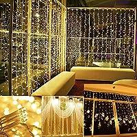 IMAGEN Luces de cortina, 9.8ft x 9.8ft Power Driver Luces de cadena LED con 8 modos para Navidad /Halloween /Bodas /Fondos de fiesta - Totalmente impermeable y estándar de seguridad UL (9.8ft x 9.8ft, blanco cálido)