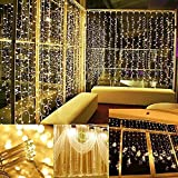 Curtain Lights, AGPTEK 9.8ft x 9.8ft Power Driver LED String Lights with 8 Modes for Christmas/Halloween/Wedding/Party Backdrops - FULL Waterproof & UL Safety Standard - Warm White