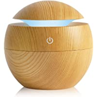 K KBAYBO Humidifier Aroma Essential Oil Diffuser, 130Ml Ultrasonic Cool Mist Humidifier With Led Night Light For Office Home Bedroom Living Room Study Yoga Spa (Light Wood)