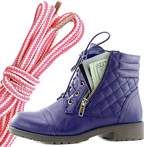 Dailyshoes Kvinners Militære Snøring Spenne Combat Boots Ankelen Høyt Eksklusivt Kredittkort Lomme, Rosa Hvit Lilla Pu