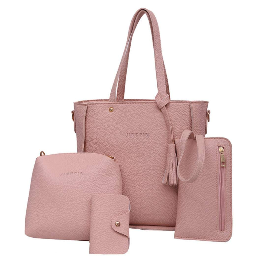 4 Set Handbag Shoulder Bags,Outsta Women's Four Pieces Tote Bag Crossbody Wallet Travel Backpack Messenger Classic Basic Casual Daypack (Pink)