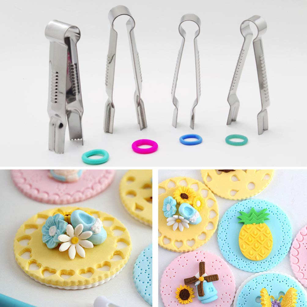 UPKOCH 12pcs Cake Lace Edge Clip Fondant Kitchen Stainless Steel Bakeware Crimpers Curve Cutters Cake DIY Sides Mold Decorating Tool