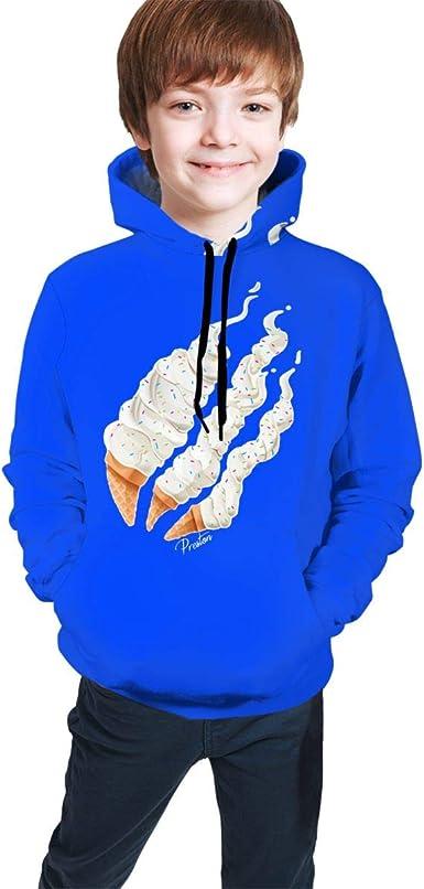 Kids Boys 3D Prestonplayz Flame Pizza Ice-Cream Hoodies Sweatshirt Pullover Top