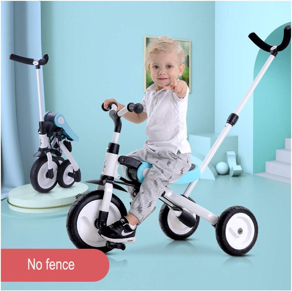 GSDZSY - Triciclo Plegable para Niños 2 En 1, con Empujador Removible, El Empujador Puede Controlar La Dirección, La Rueda Trasera Se Puede Deformar, 1-6 Años,White_A