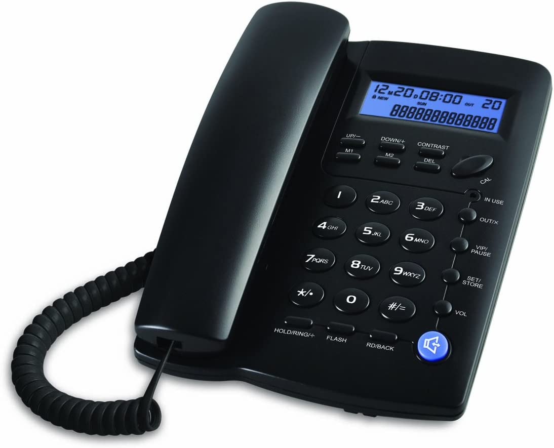 Ornin Y043 Corded Telephone with Speaker, Display, Basic Calculater and Caller ID (Black)