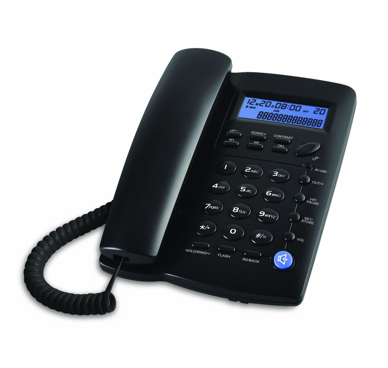 Ornin Y043 Corded Telephone with Speaker, Display, Basic Calculater and Caller ID, Black