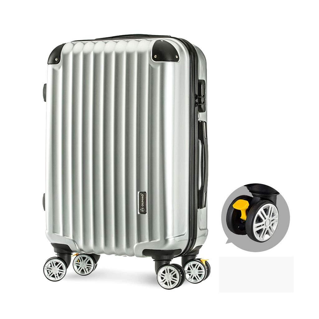 ハードシェルトロリートラベルケーススーツケース、360回転ホイール、ハード&フレキシブルケース持ち運び可能調節可能ハンドル4サイズ、シルバー 35*22*49cm  B07MJB55FF