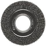 Weiler Trulock Medium Face Wire Wheel Brush, Round Hole, Steel, Crimped Wire, 6'' Diameter, 0.014'' Wire Diameter, 2'' Arbor, 1-1/8'' Bristle Length, 1'' Brush Face Width, 6000 rpm