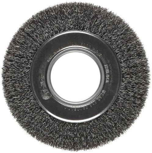 "Weiler Trulock Medium Face Wire Wheel Brush, Round Hole, Steel, Crimped Wire, 6"" Diameter, 0.014"" Wire Diameter, 2"" Arbor, 1-1/8"" Bristle Length, 1"" Brush Face Width, 6000 rpm from Weiler"