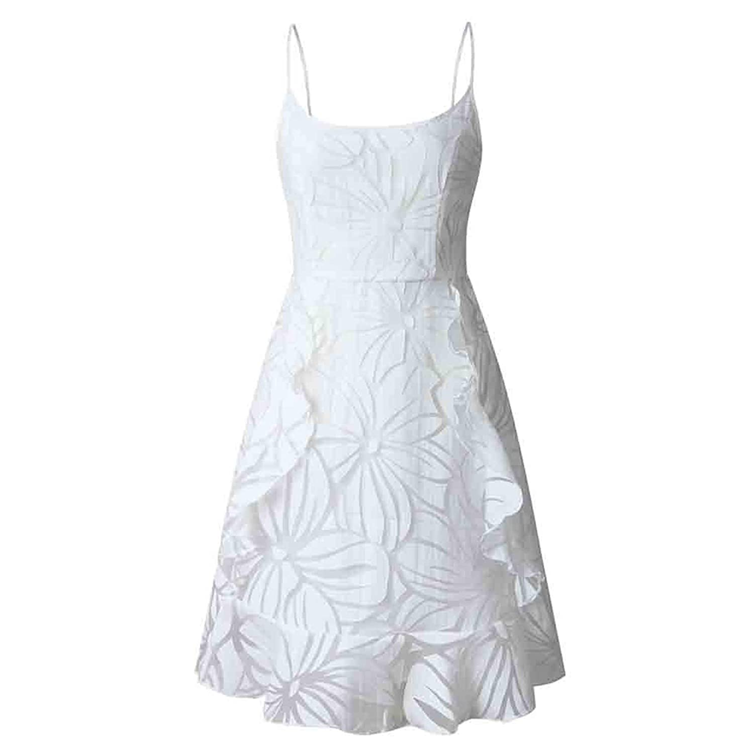 White, S//M//L//XL Kelry Womens Holiday Sling Lace Short Dress Up Ladies Summer Beach Buttons Party Dress