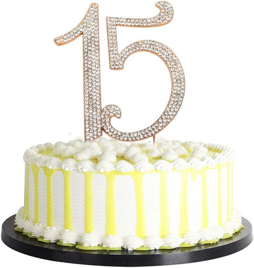 Fine Amazon Com Homanda Golden 15 Crastal Rhinestone Cake Topper For Funny Birthday Cards Online Elaedamsfinfo