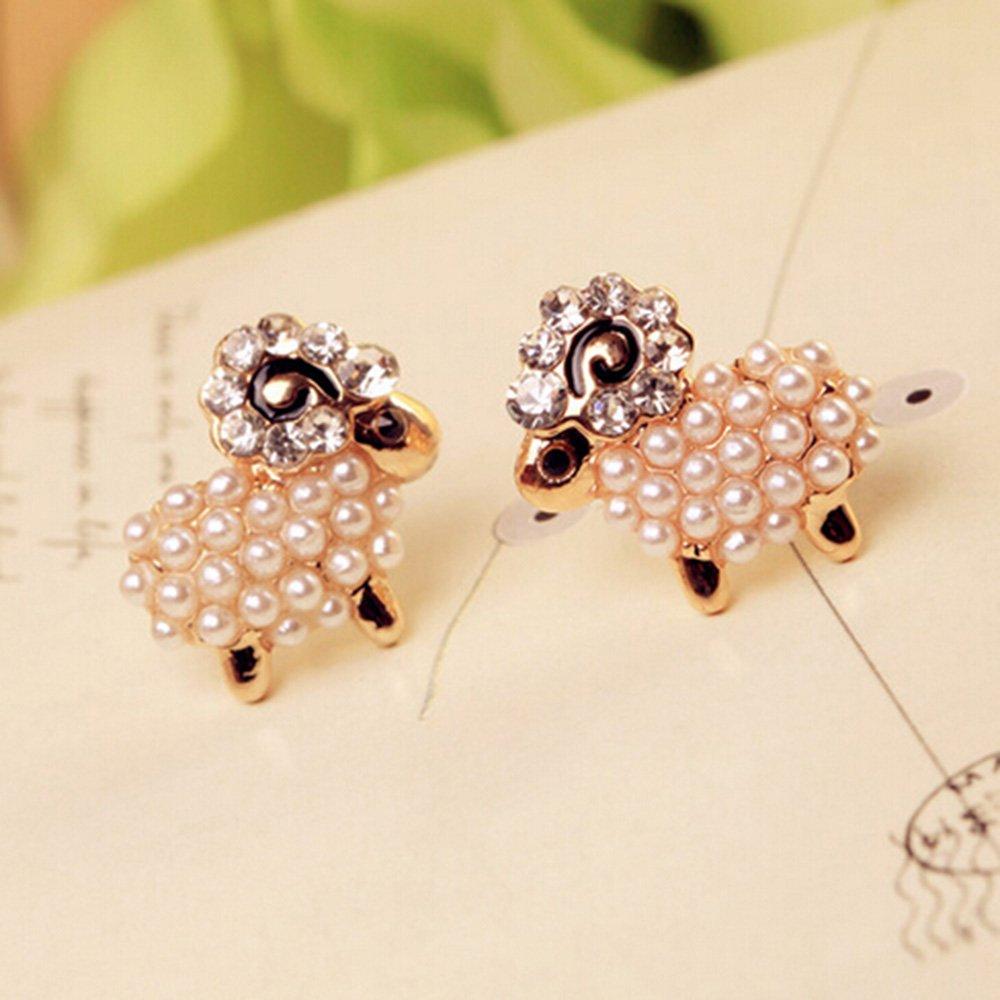 Spritech(TM) Women's Girls Fashion Korea Elegant Crystal Rose Chain Dangle Pearl Earrings Earing Graceful Earing