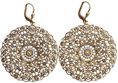 Catherine Popesco Goldtone Filigree Round Large Lace Medallion Earrings, Clear Gray 9702BG -