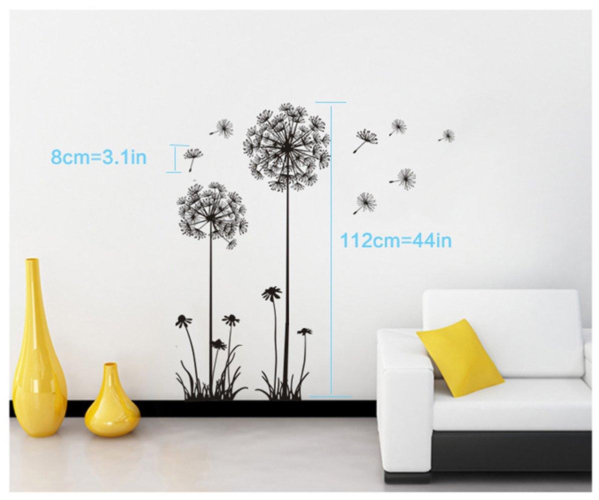 Low Cost Black Dandelion Wall Sticker Flowers Plants Flow In The