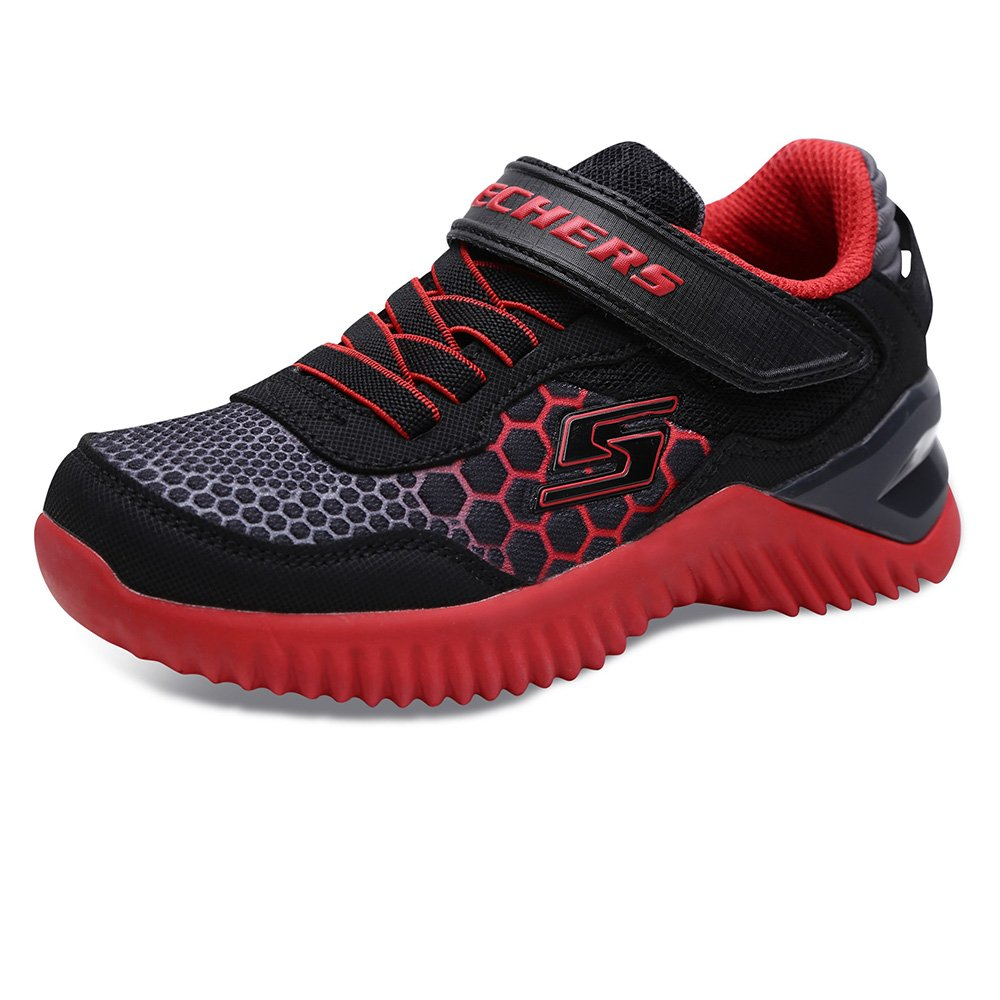 Skechers Boys' Ultrapulse-Rapid Shift Sneaker,Black/Grey/red,13 Medium US Little Kid