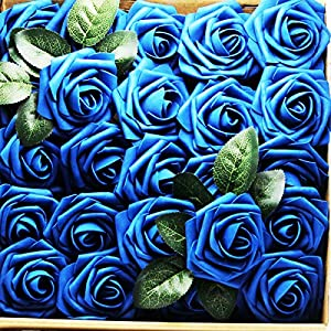 Artificial Flowers Real Touch Fake Latex Rose Flowers Home Decorations DIY for Bridal Wedding Bouquet Birthday Party Garden Floral Decor - 25 PCs 9