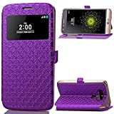 LG G5 Case,Gift_Source [Purple] [Slim Fit] [Kickstand] [Card Slot] Quick Window View PU Leather Case Flip Cover Folio Case for LG G5 (2016)