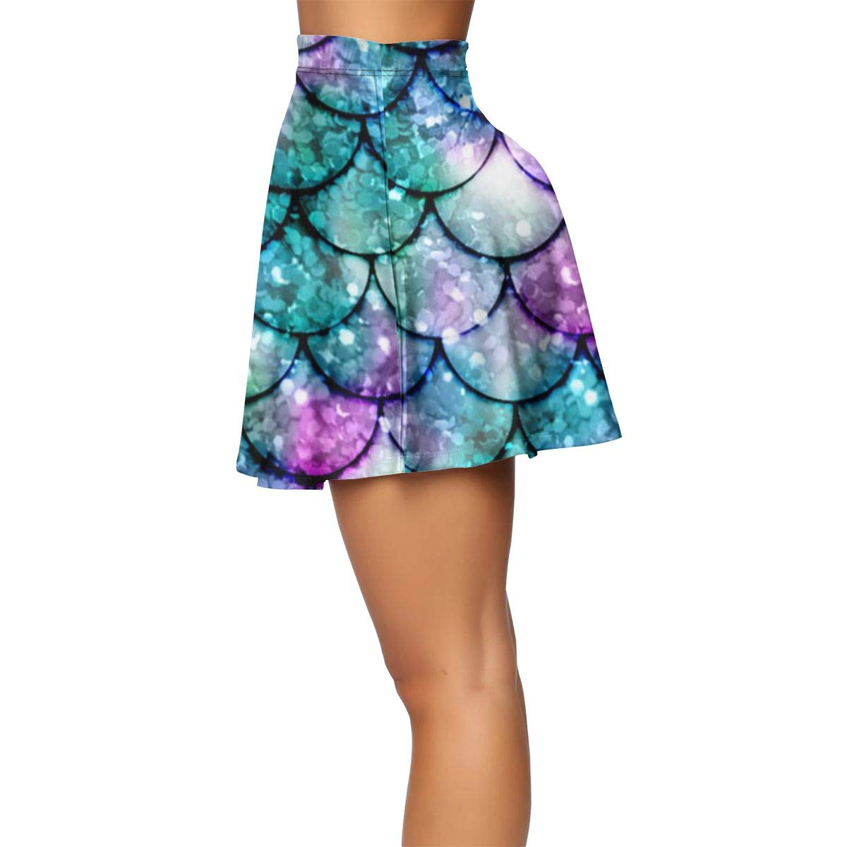 Versatile Stretchy Flared Shirring Skirt Shiny Short Mini Skirt Bodycon Party Skirt Outfits YongColer Milk Cow Spots Print Casual Circle Skater Skirt for Women Girls Lady