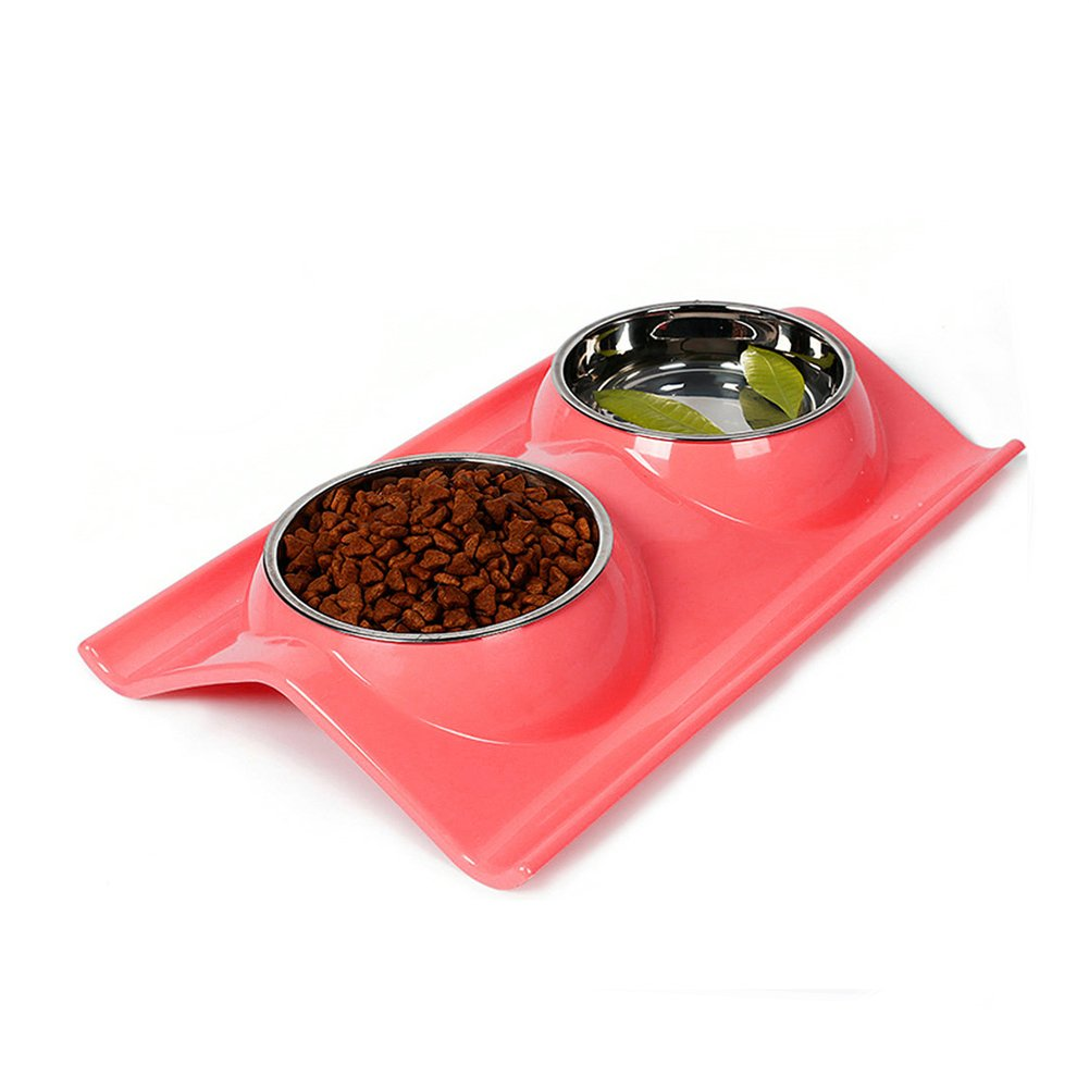 Double Dog Cat Bowls Stainless Steel Pet Bowls No-skid No Spill Pet Food Wate...
