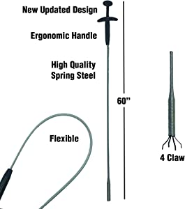 "PF WaterWorks PF0408 GrabEASY 60"" Improved Ergonomic Handle, Flexible, Mechanical 4 Claw Pick-Up Tool and Multipurpose Grabber-Jewelry Retriever, Clog Remover, Drain Snake, Clean Dryer Vent, Chrome"