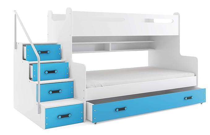 Hochglanz Etagenbett Spielbett Alex Mit Regalen Treppe Und Bettkasten : Etagenbett max 3 für drei kinder 200x80cm und 200x120cm farbe