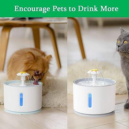 APERIL Fuente de Agua para Perros y Gatos 2.4L Eléctrico Automático Fuente de Flor 3 Modos Ajustables: Amazon.es: Productos para mascotas