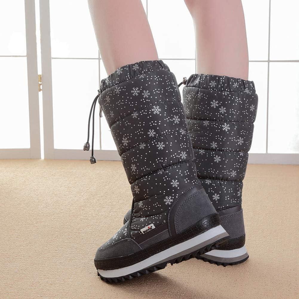 Naughtyangel Womens Snowflake Winter Snow Boots Anti-Slip High Booties Waterproof Front Zip-up Warm Fur Lined Sneaker